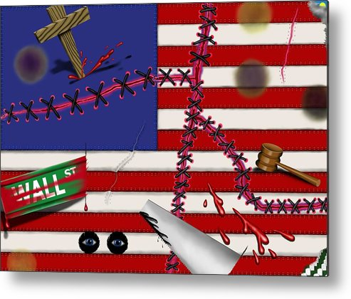 Surrealism Metal Print featuring the digital art Red White and Bruised III by Robert Morin