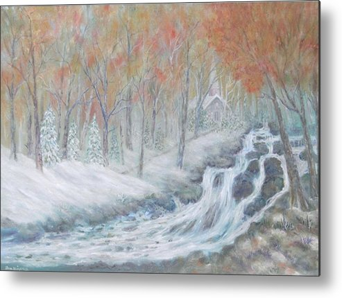 Snow; Landscape; Church Metal Print featuring the painting Reverence by Ben Kiger