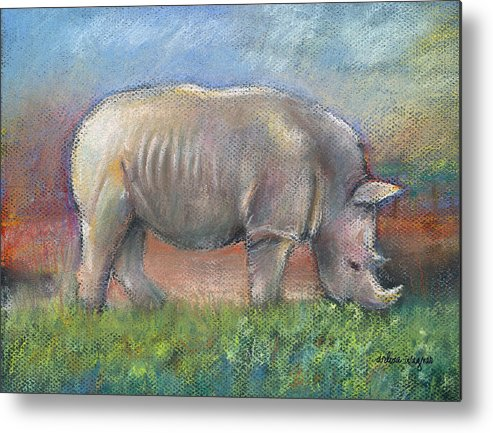 Rhino Metal Print featuring the pastel Rhino by Suzanne Blender