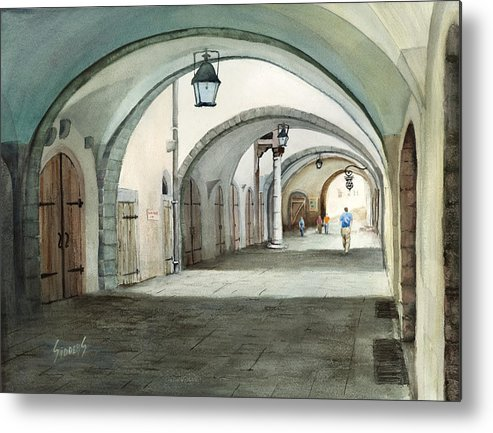 Germany Metal Print featuring the painting Rothenburg Backstreet by Sam Sidders