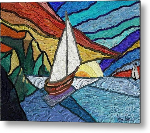 Seascape Metal Print featuring the painting Rumbs by Xavier Ferrer