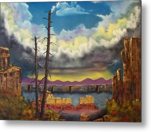 Painting Metal Print featuring the painting Sacred View by Patrick Trotter
