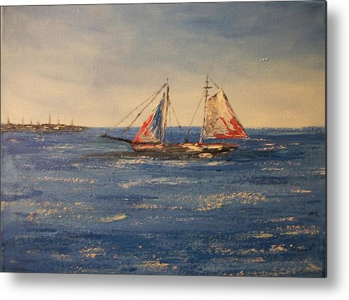 Marine Metal Print featuring the painting Sail boat in Charleston by Tami Booher