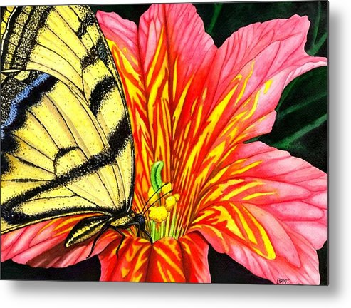 Salpiglossis Metal Print featuring the painting Salpliglossis by Catherine G McElroy