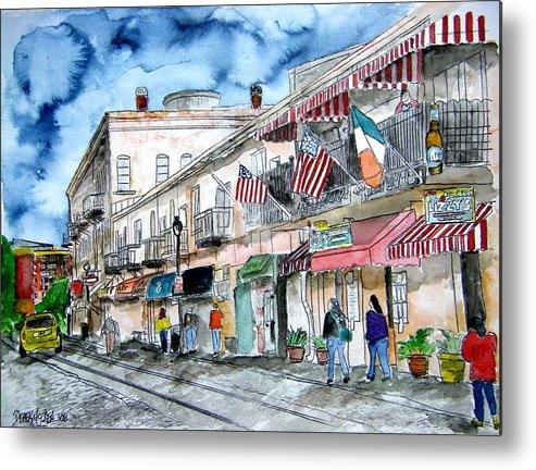 Pen And Ink Metal Print featuring the painting Savannah Georgia River Street by Derek Mccrea
