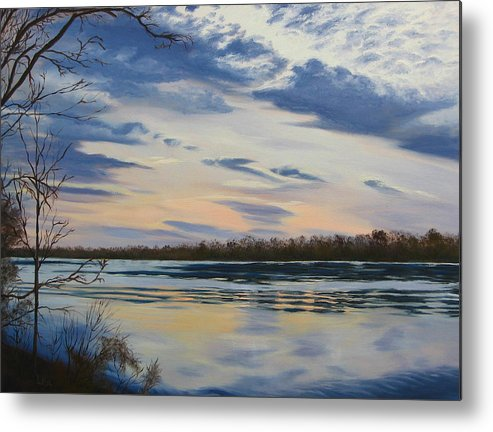 Clouds Metal Print featuring the painting Scenic Overlook - Delaware River by Lea Novak
