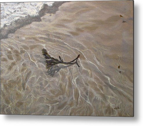 Seascape Metal Print featuring the painting Seashore Reflections by Lea Novak