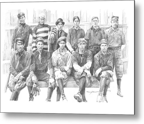 Www.miketheuer.com Semipro Baseball 1908 Co Railroad Pencil Portrait Metal Print featuring the drawing semipro baseball 1908 CO railroad pencil portrait by Mike Theuer