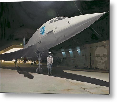 Astronaut Metal Print featuring the painting Shadows of Dangerous Men by Scott Listfield