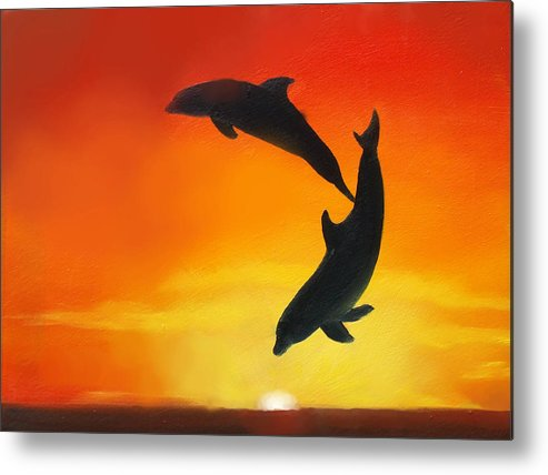 Sunset Metal Print featuring the painting Showing Off by Darlene Green