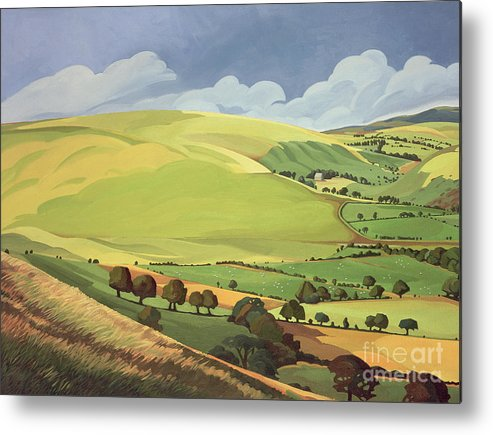 Welsh Landscape; Field; Fields; Country; Countryside; Rural; Rolling Hills; Valleys; Hill; Tree; Trees; Grass; Green; Sky; Landscape Metal Print featuring the painting Small Green Valley by Anna Teasdale