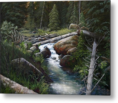 Landscape Metal Print featuring the painting Small Stream In The Lost Wilderness 070810-1612 by Kenneth Shanika