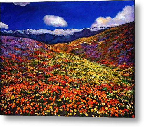 Landscapes Metal Print featuring the painting Solitude Under Azure Skies by Johnathan Harris