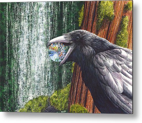 Raven Metal Print featuring the painting Sparkle by Catherine G McElroy