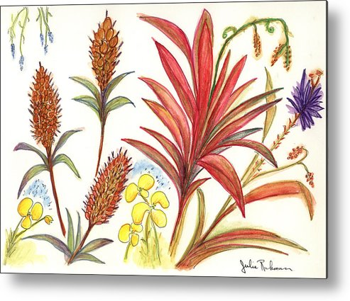 Red Flowers Metal Print featuring the painting Spiky Florida Flowers by Julie Richman