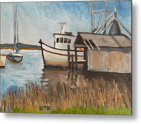 Boat Metal Print featuring the painting St Mary's Shrimp Boat by Robert Holewinski