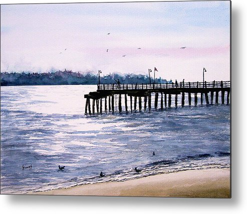Fishing Metal Print featuring the painting St. Simons Island Fishing Pier by Sam Sidders