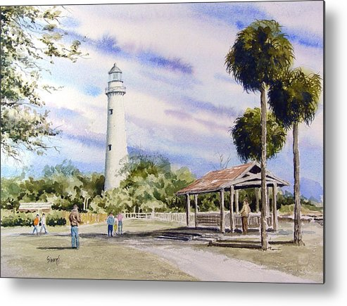 Lighthouse Metal Print featuring the painting St. Simons Island Lighthouse by Sam Sidders