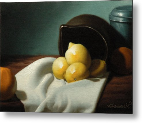 Still Life Painting Metal Print featuring the painting Still Life Painting Three Beauties by Eric Bossik