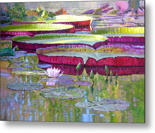 Lily Pond Metal Print featuring the painting Sunlight on Lily Pads by John Lautermilch