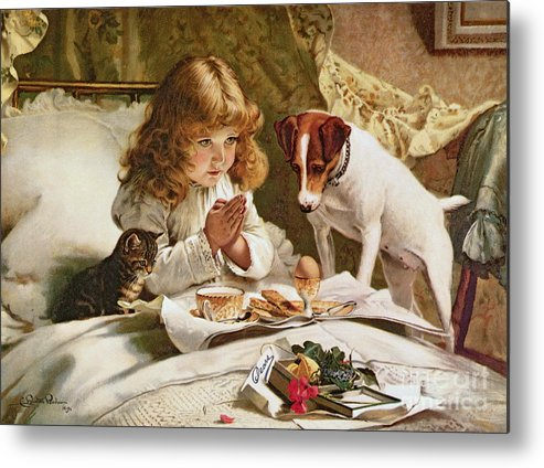 Suspense Metal Print featuring the painting Suspense by Charles Burton Barber