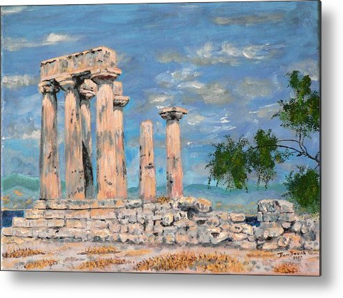 Landscape Metal Print featuring the painting Temple of Apollo by Dan Bozich