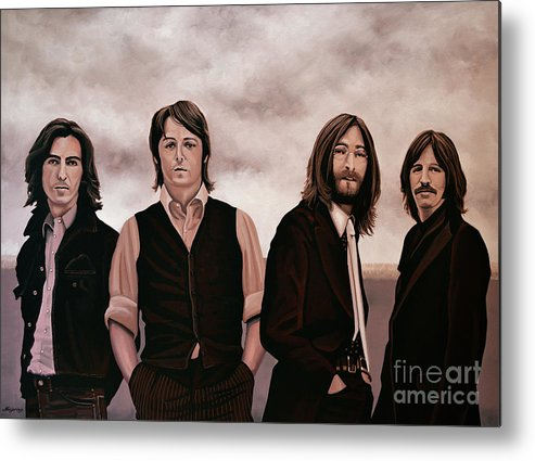 The Beatles Metal Print featuring the painting The Beatles 3 by Paul Meijering