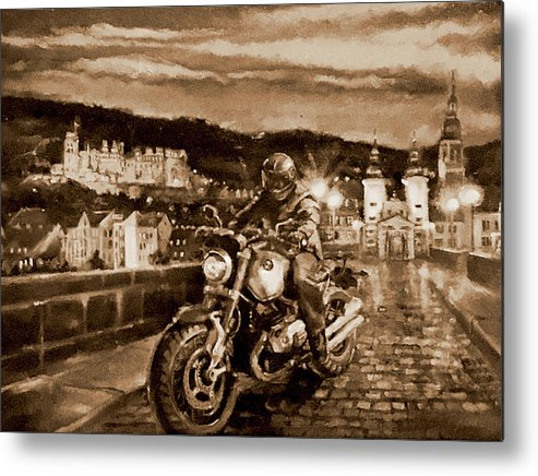 Sepia Painting Metal Print featuring the painting The Knight of Heidelberg-Sepia by BJ Lane
