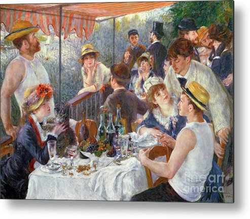 The Metal Print featuring the painting The Luncheon of the Boating Party by Pierre Auguste Renoir