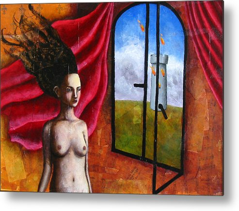 Figure Metal Print featuring the painting The Onset of Calamity by Pauline Lim