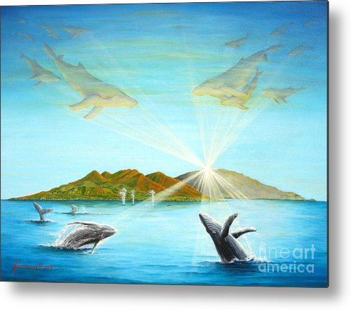 Whales Metal Print featuring the painting The Whales Of Maui by Jerome Stumphauzer