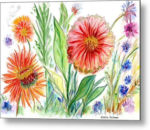 Flowers Nature Botany Drawing Julie Richman Flora Pencil Metal Print featuring the painting Three Red Flowers 53 by Julie Richman
