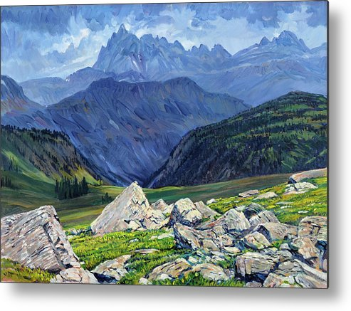 Wyoming Landscape Metal Print featuring the painting Thunderheads at Fox Creek Pass by Steve Spencer
