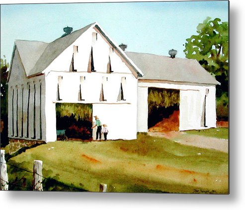 Tobacco Metal Print featuring the painting Tobacco Barn by Faye Ziegler