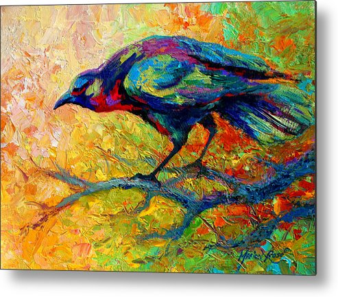 Crows Metal Print featuring the painting Tree Talk - Crow by Marion Rose