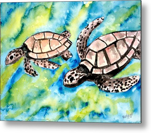 Love Metal Print featuring the painting Turtle Love Pair Of Sea Turtles by Derek Mccrea