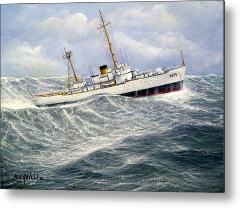 United States Coast Guard Cutter Ingham In Heavy Seas Metal Print featuring the painting United StatesCoast Guard Cutter Ingham by William H RaVell III