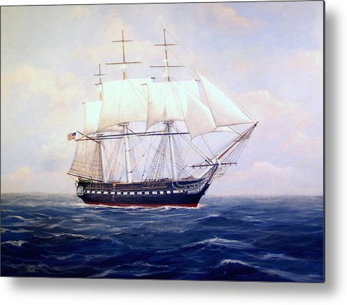 Marine Art Metal Print featuring the painting USS Constitution by William Ravell