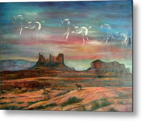 Landscape Metal Print featuring the painting Valley of the horses by Darla Joy Johnson
