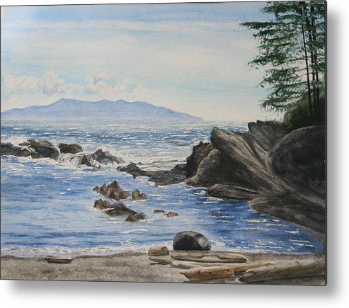Seascape Metal Print featuring the painting Vancouver Island by Monika Degan