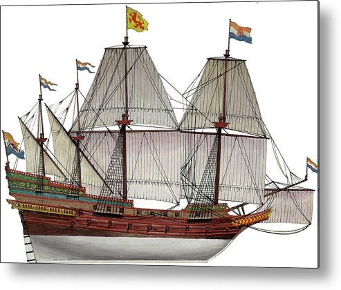 Metal Print featuring the painting VOC Galleon by The Collectioner