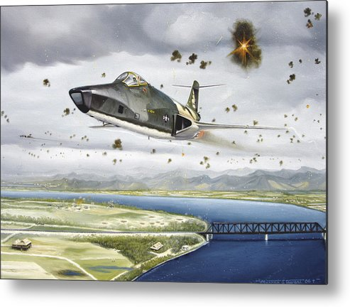 Military Metal Print featuring the painting Voodoo Vs The Dragon by Marc Stewart