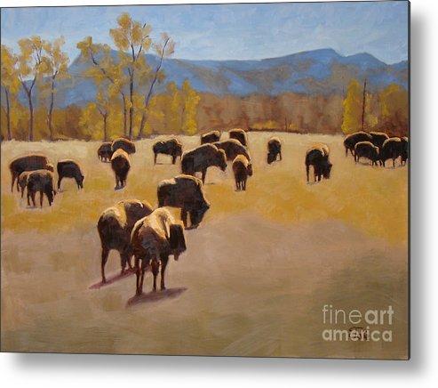 Buffalo Metal Print featuring the painting Where the buffalo roam by Tate Hamilton