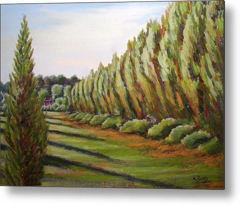 Oil Painting Metal Print featuring the painting Windbreak Evening by Karla Beatty