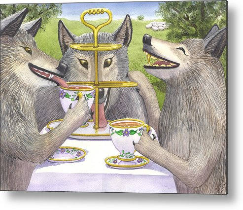 Wolf Metal Print featuring the painting Wolves Tea Party by Catherine G McElroy