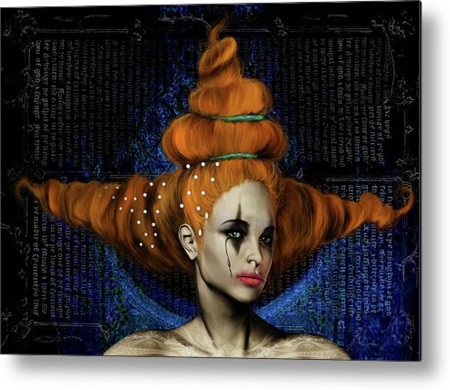 Woman Hair Gothic Dark Faces Eyes Metal Print featuring the digital art Woman with big hair by Veronica Jackson