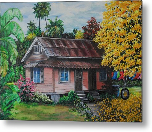Old House Metal Print featuring the painting Yellow Poui Time by Karin Dawn Kelshall- Best