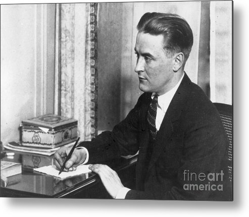 People Metal Print featuring the photograph F.scott Fitzgerald Writing At Desk by Bettmann