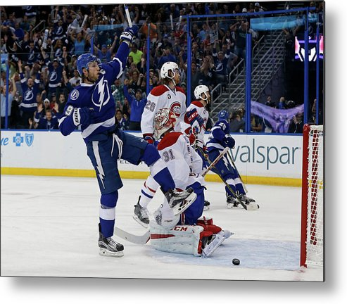 Playoffs Metal Print featuring the photograph Montreal Canadiens V Tampa Bay by Mike Carlson