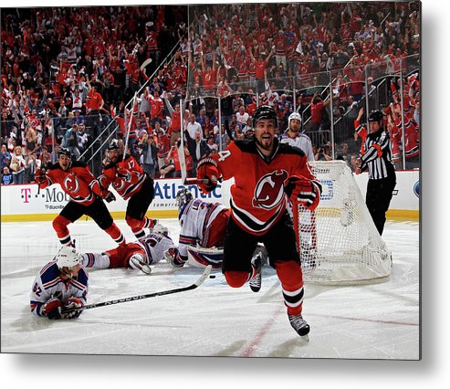 Playoffs Metal Print featuring the photograph New York Rangers V New Jersey Devils - by Bruce Bennett
